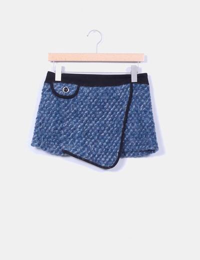Minifalda azul jaspeada detalle bolsillo NoName
