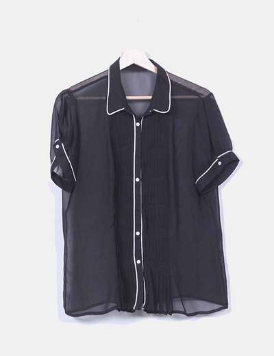 Blusa gasa negra semitransparente ribete blanco NoName