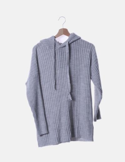 Sudadera tricot gris con capucha