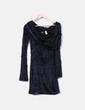 Vestido negro de pelo cuello vuelto Miss Sixty