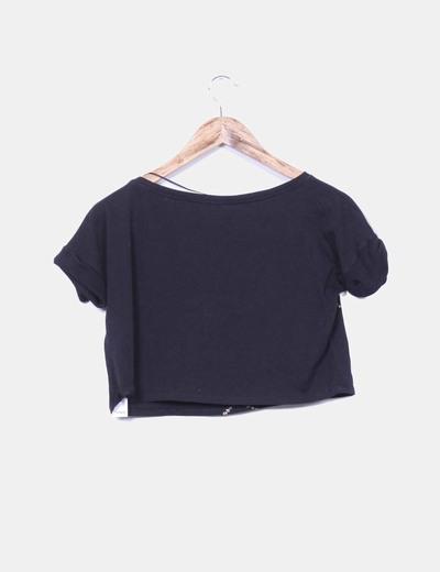 026fc60ae5f02 Lefties Camiseta corta negra con estampado dorado (descuento 79%) - Micolet
