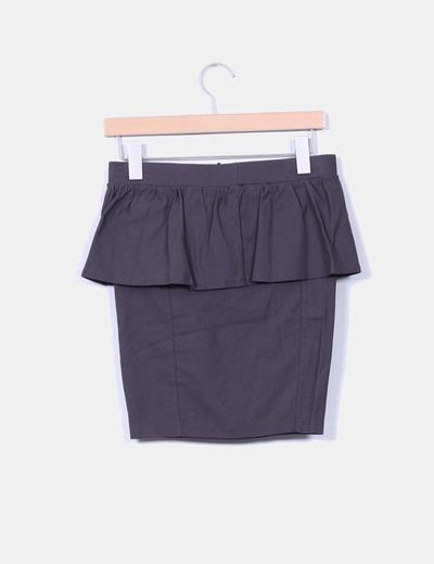 Falda midi gris con doble capa