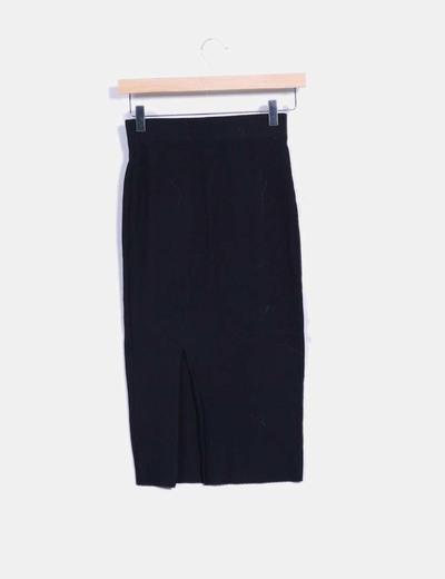 14ceb01fbe Zara Falda midi tubo negra canalé (descuento 70%) - Micolet