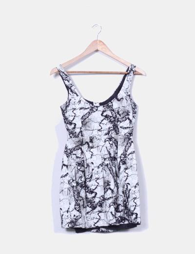 Vestido estampado blanco y negro H&M