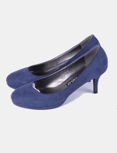 Zapato de ante tacón azul Delef con Victoria redondeada de punta UqGLSzpMV