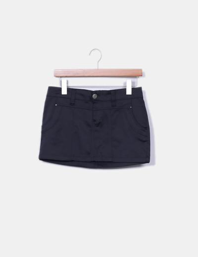 Mini black satin skirt Pimkie