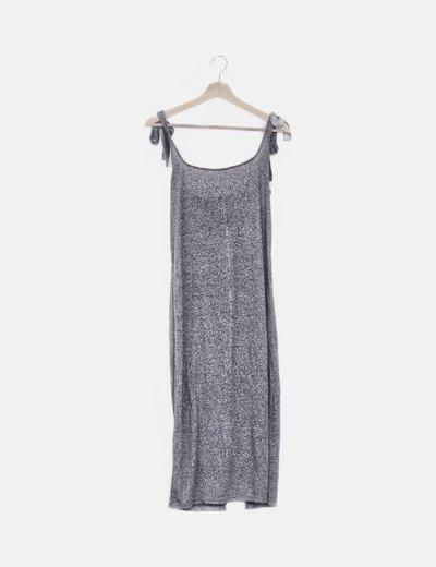 Vestido tricot gris tirantes jaspeado