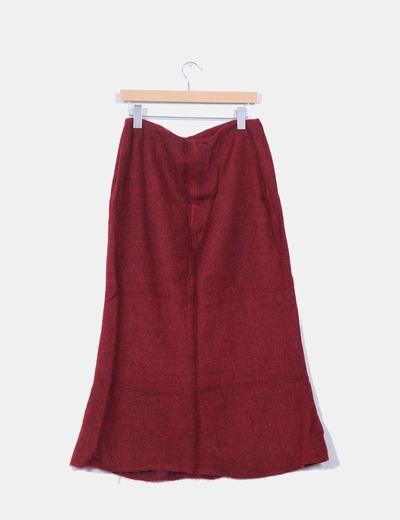 Falda larga roja texturizada