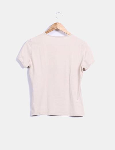 Camiseta beige print rosa