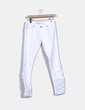 Jeans denim blanco recto drapeado. Miss Sixty