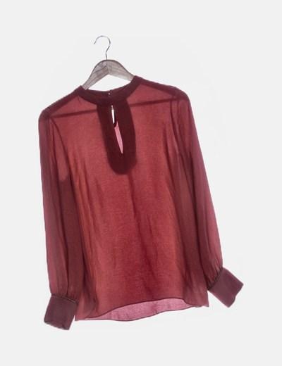 Blusa fluido manga larga rosa