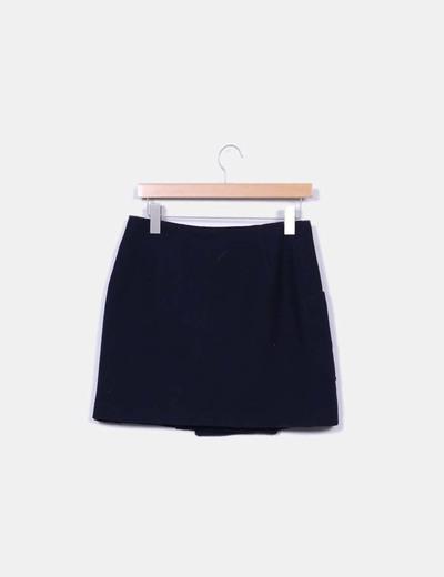 Mini falda azul con cierres metalicos