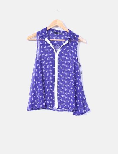 Camisa azul klein print golondrinas Atmosphere