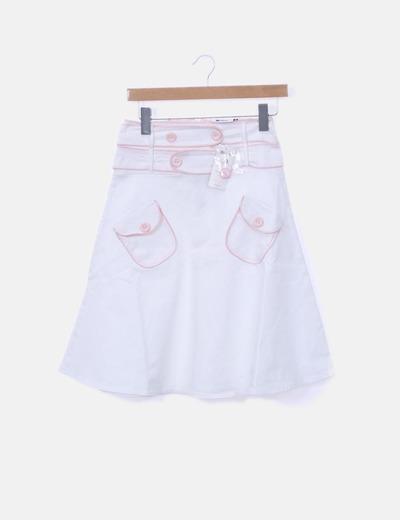 Falda midi blanca evasé