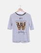 Camiseta gris jaspeada letra animal print Stradivarius