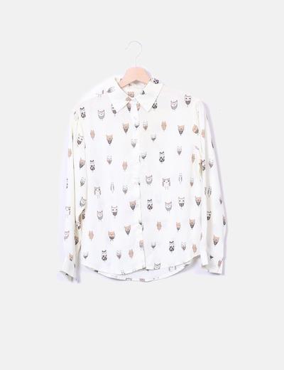 Blusa beige print búhos