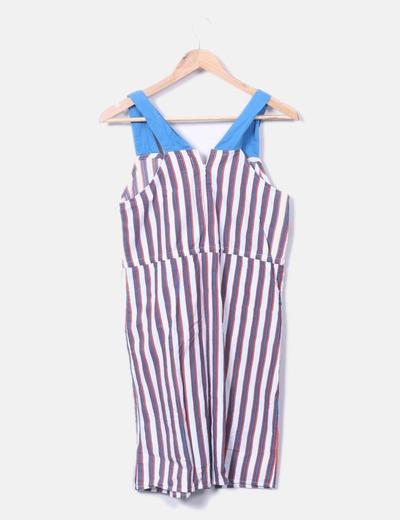 Vestido de rayas tricolor