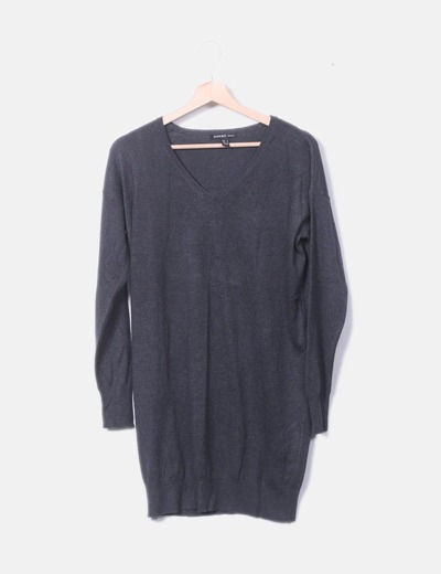 Jersey tricot gris oscuro largo