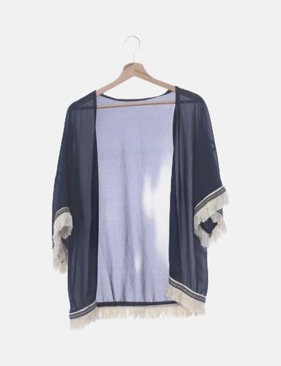 Kimono azul marino semitransparente con flecos