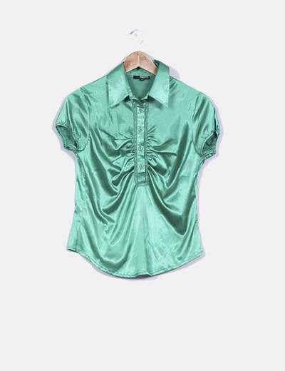 Blusa verde satinada manga corta Edward'Os