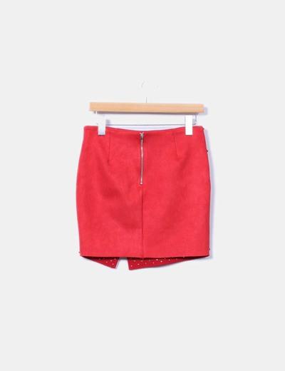 Mini falda roja antelina con tachas