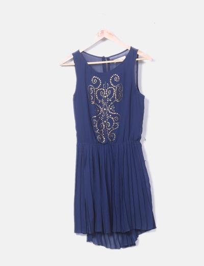 Vestido azul marino plisado con tachas
