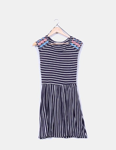Vestido de rayas azul marino y blanco Pull&Bear