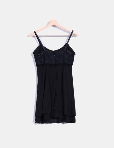 Vestido lencero negro combinado