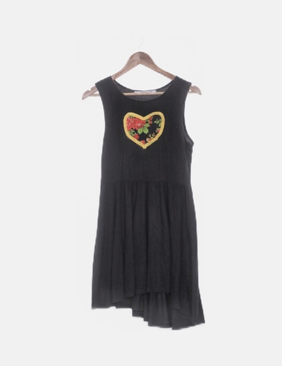 Vestido negro print corazon floral