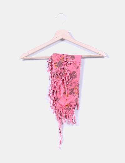 Pañuelo rosa con flecos NoName
