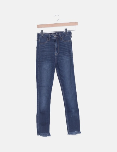 Jeans denim ultra high rise azul marino