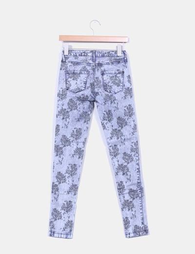 Pantalon denim floreado