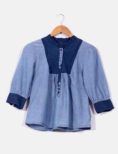 Blusa azul de manga francesa H&M