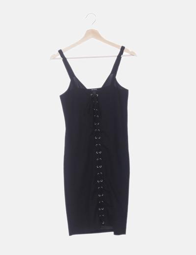 Vestido negro tricot con cordones