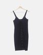 Vestido negro tricot con cordones Zara