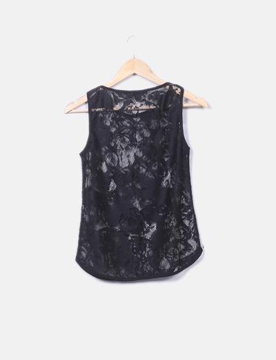 daf308f14765 Camiseta de encaje negra