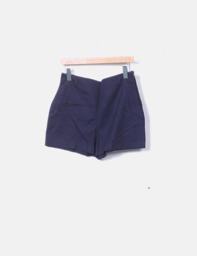 Short azul marino cremallera lateral