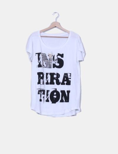 Camiseta oversize blanca print tachas NoName