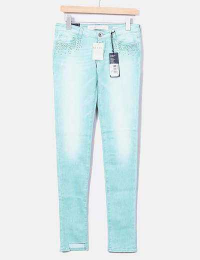 Jeans verts pastel avec strass Guess