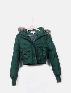 Plumas verde capucha Zara 7bbae4450812