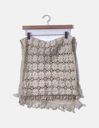 Bufanda crochet crudo