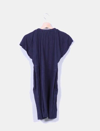Vestido azul marino con cinturilla