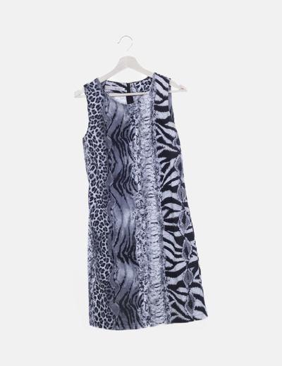 Vestido animal print gris