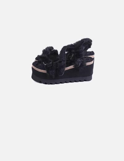 Sandalias plataforma pelo negro Genuins
