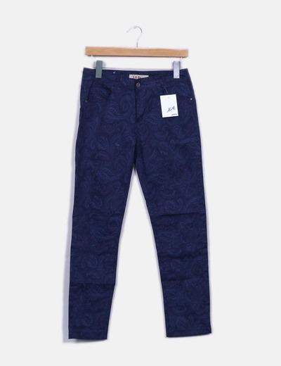Pantalón recto azul marino estampado
