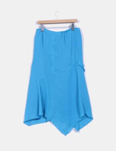 Falda azul celeste asimetrica