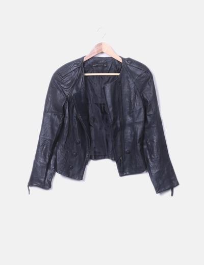 Cazadora biker cuero negro Zara