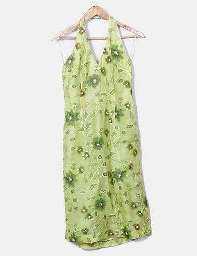 Vestido estampado com decote halter verde Tintoretto