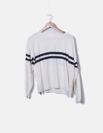 Suéter punto blanco rayas azul marino