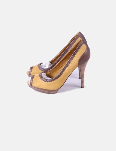763900ba338 Zara Yellow and brown peep toe heel shoes (discount 82%) - Micolet